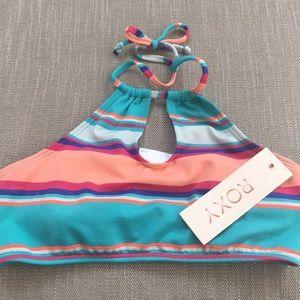 Roxy cropped halter high neck keyhole bikini top!